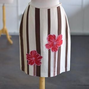 Silk Embellished striped pencil skirt